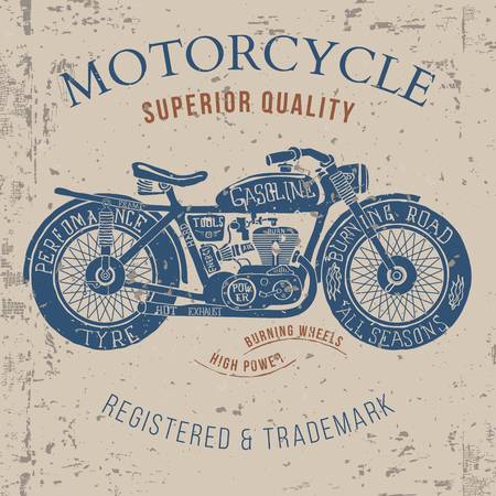 vintage motorcycle design for tee shirt graphic print Vector illustration Banco de Imagens - 50678697
