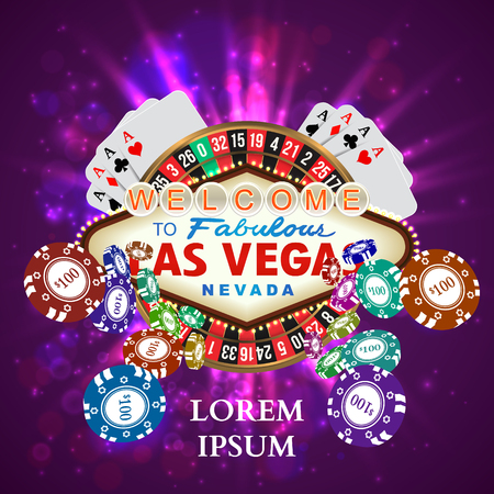 vegas sign: Casino Roulette Playing Cards witn Falling Chips. Vector illustration