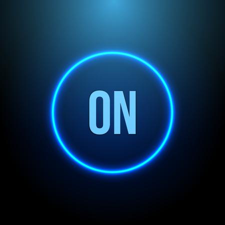 Círculo de neón. Botón con la luz azul. ilustración vectorial Ilustración de vector