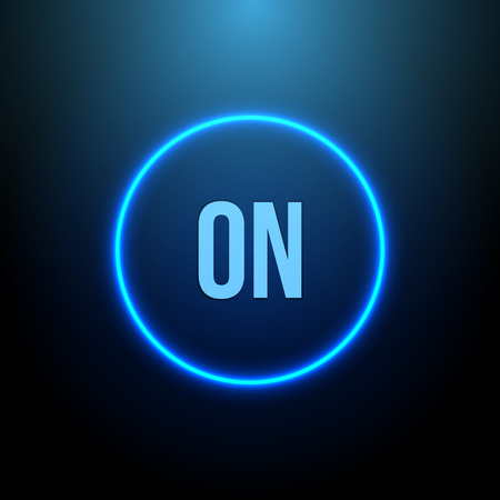 neon light: Neon Circle. Button with Blue Light. Vector illustration