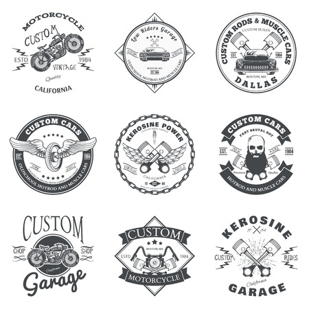 motorbike race: Set of Custom Car and Bike Garage Label and Badge Design