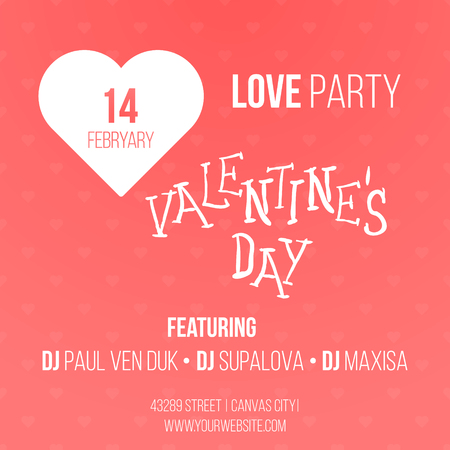 14 of february: 14 february Valentines Day Party Flyer. Vector illustration