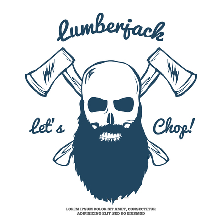 cartoon gangster: Lumberjack Skull with beard and Crossed Axes illustration