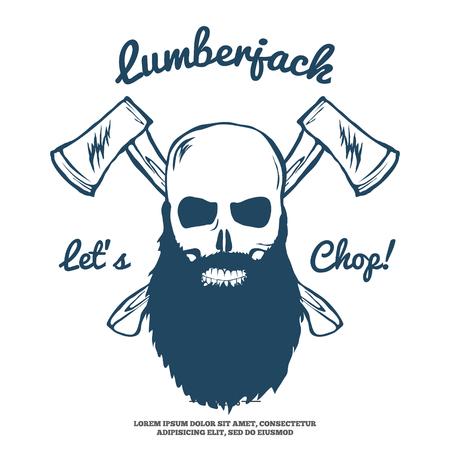Lumberjack Skull with beard and Crossed Axes illustration
