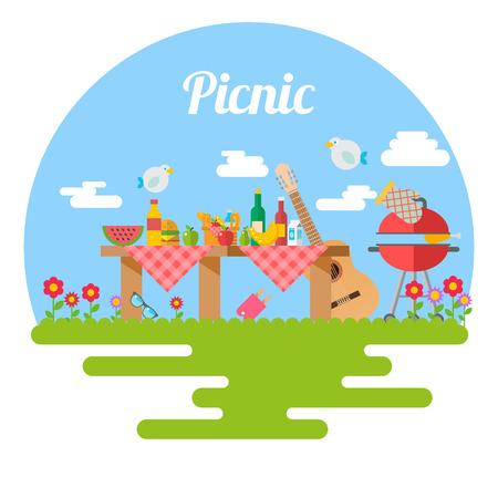 Flat Design Picnic BBQ elements Vector illustration Иллюстрация