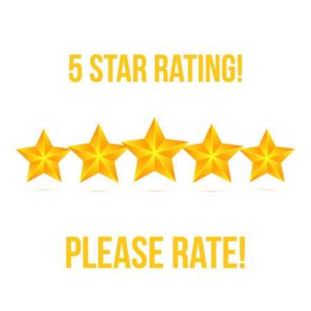 five stars: Five Star isolated on white background. Rating Stars Vector illustration