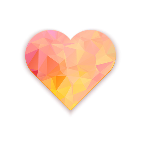 poligonali cuore wireframe, valentines giorno illustrazione vettoriale