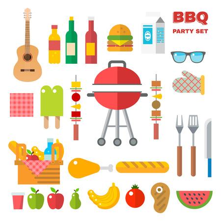 Appartement design pique-nique éléments de barbecue Vector illustration