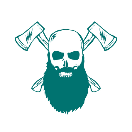 dirty t shirt: Skull with beard and Crossed Axes Vector illustration