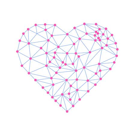 接続された直線と点と心。ワイヤ メッシュの多角形要素。バレンタインの日。ベクトル図