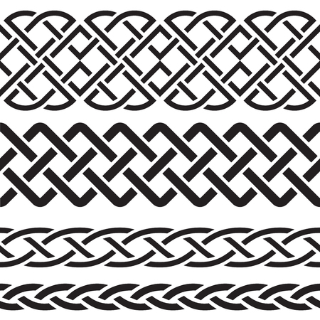 keltische muster: Satz von Celtic Pattern Borders Illustration
