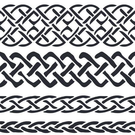 keltische muster: Satz von Celtic Pattern Borders Illustration