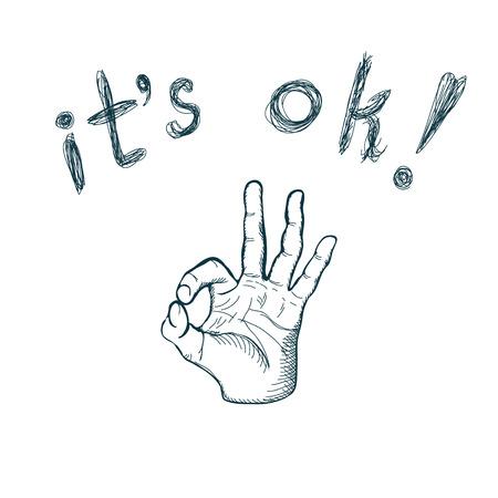 ok: Hand draw sketch vintage okay hand sign illustration Illustration