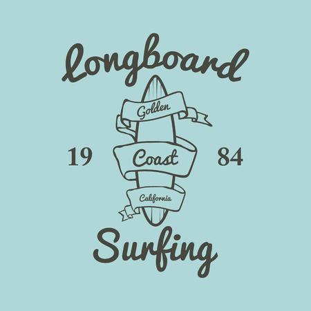 malibu: Longboard surfing typography, t-shirt graphics, illustration Illustration