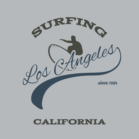 wave surfing: surfing typography, t-shirt graphics print, illustration Illustration