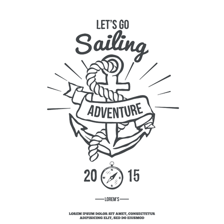 iron ribbon: Lets go Sailing. Anchor with Banner. Illustration