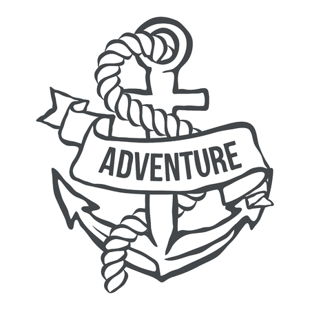 iron ribbon: Anchor with Banner and rope. Adventure illustration