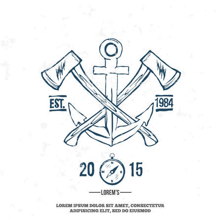 axes: Anchor with crossed axes. Design elements. T-shirt print Vector