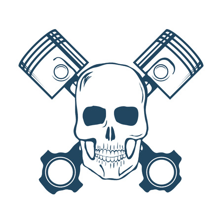pistons: Skull and Pistons. t-shirt graphic. Vector Illustration
