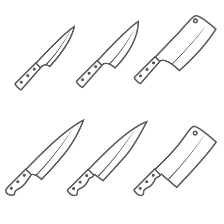 Set of six kitchen knives vector illustration