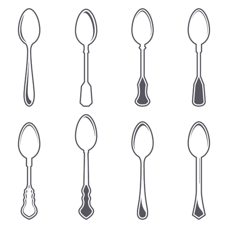 silver ware: Set of eight tablespoons isolated on white vector illustration