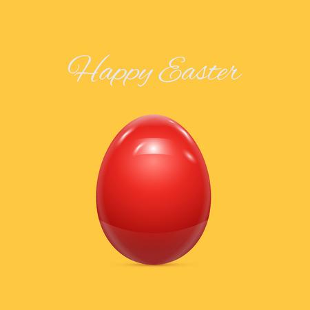 patrones de flores: Huevo de Pascua rojo aislado en el fondo amarillo ilustraci�n vectorial