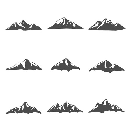 capped: Set nine of Mountain Icons Vector Illustration