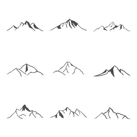 snow capped: Set nine of Mountain Icons Vector Illustration