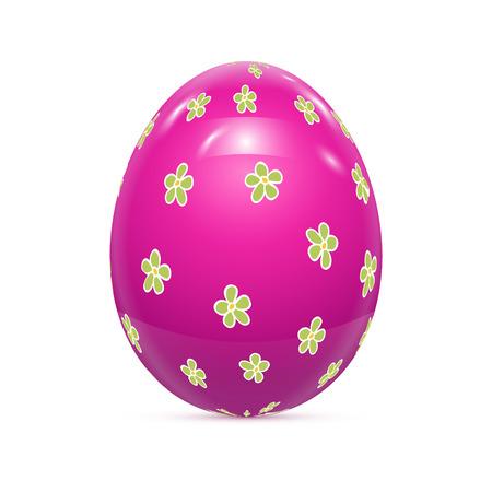 patrones de flores: Huevo de Pascua con el modelo aislado en blanco ilustraci�n vectorial Vectores
