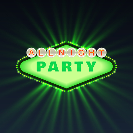 beach ad: All Bright Party Club Poster Vector Illustration Illustration