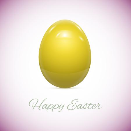 flor morada: Huevo de Pascua amarillo aislado en blanco ilustraci�n vectorial