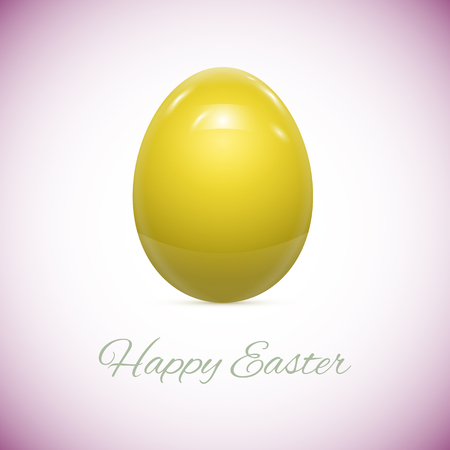 flower designs: Yellow Easter Egg Isolated on White Vector illustration Illustration