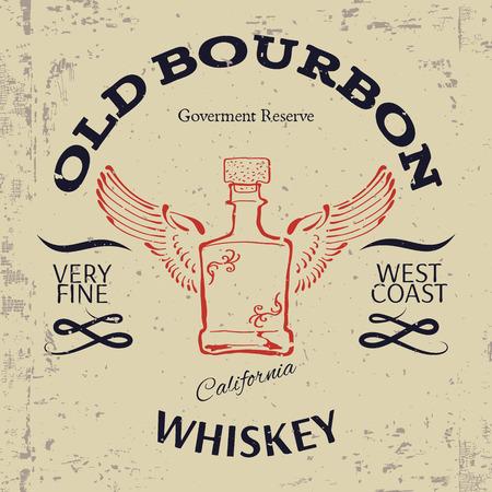 whisky: Whiskey conception d'étiquettes. T-shirt Imprimer. Vector illustration