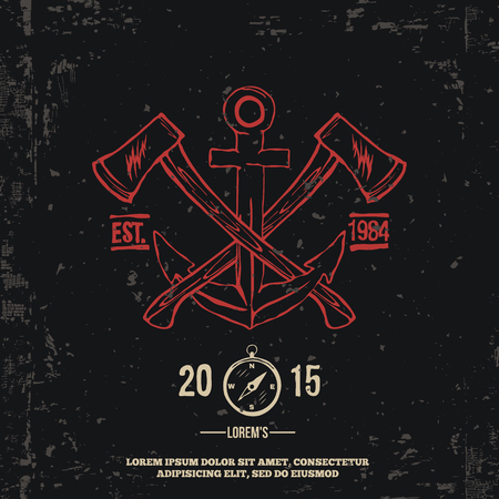 axes: Anchor with crossed axes. Design elements. T-shirt print Vector Illustration Illustration