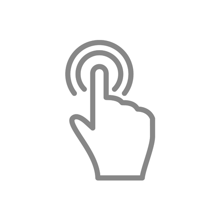 clicked: Hand touch and tap gesture line art icon for apps and websites Vector