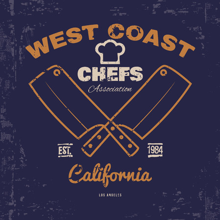 grunge cutlery: Chefs T-shirt print design with grunge. Vector illustration