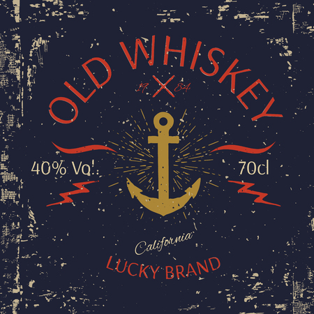 t bar: Whiskey Label Design. T-shirt Print. Vector illustration