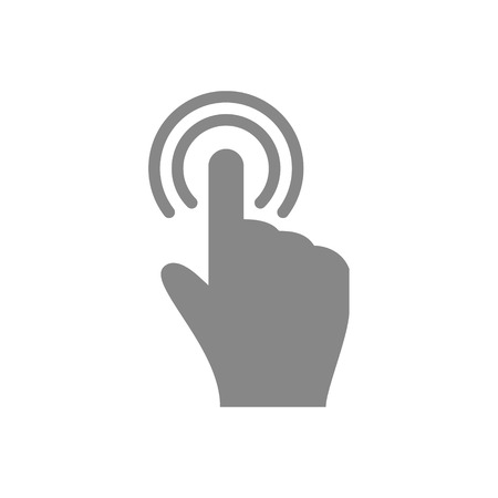 multitouch: Hand touch and tap gesture line art icon for apps and websites Vector