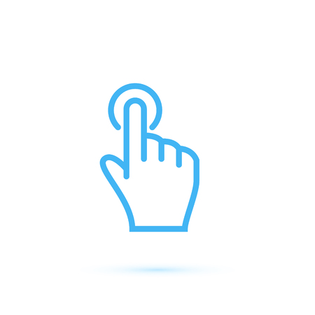 clicked: Hand touch and tap gesture line art icon for apps and websites Vector illustration