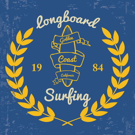 t shirt printing: Surfing - Print for t-shirt in custom colors. Illustration