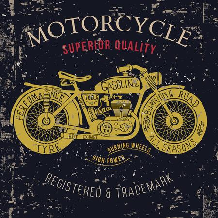 gráficos del vintage de la motocicleta, viaje por carretera, la camiseta de la tipografía, de la vendimia. Ilustración del vector Ilustración de vector