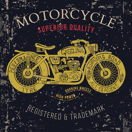 Motorcycle vintage grafiek, Road Trip, t-shirt typografie, Vintage. vector Illustration Vector Illustratie