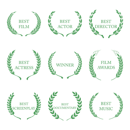 famous actress: Film Awards, award wreaths on white background vector
