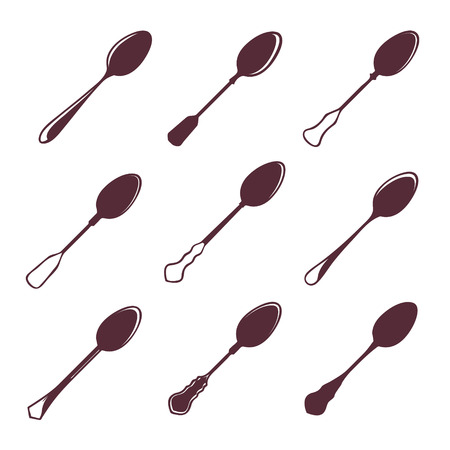 silver ware: Set of nine tablespoons isolated on white vector illustration Illustration