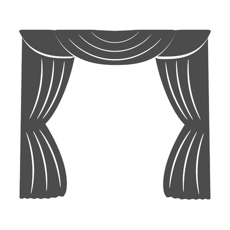 Curtains on a white background. Silhouette. Vector illustration