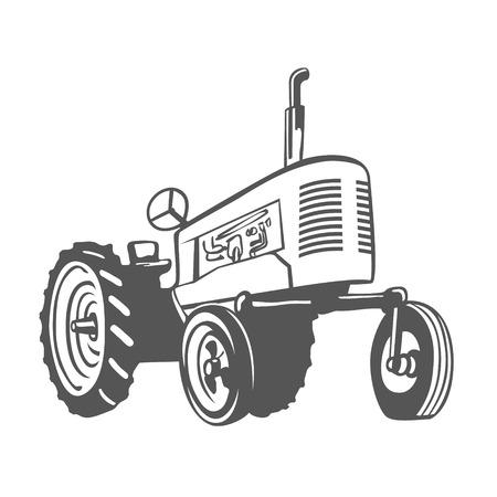 Farm Tractor Monochrome Design Isolated. Vector Illustration