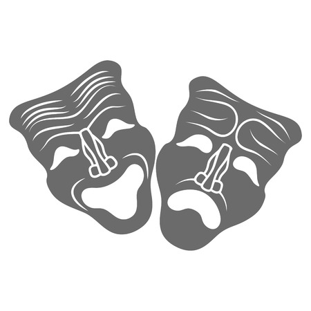 comedy show: Theatrical masks isolated on white background