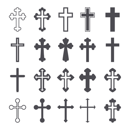 Cross icons set. Decorated crosses signs or symbols. Vector illustration 矢量图像