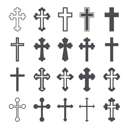 Cross icons set. Decorated crosses signs or symbols. Vector illustration Illusztráció