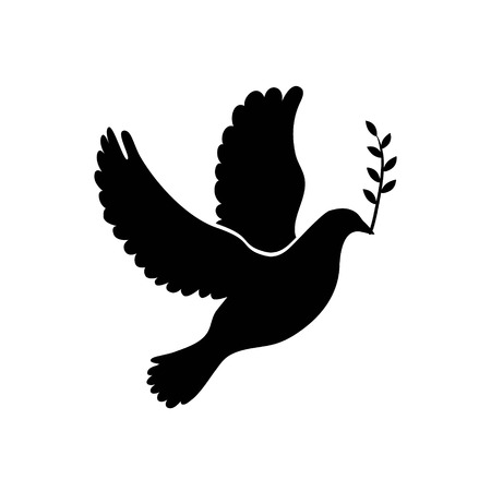peace concept: Dove of peace simple icon. Flying dove of peace icon art. Peace concept icon. Pacifism concept image. Dove of peace icon web. Dove of peace icon app. Dove of peace vector icon sign. Vector illustration Illustration